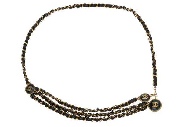 Chanel Vintage Black Leather Woven Gold Chain Lion CC Belt