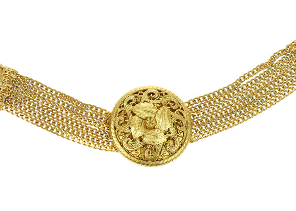 Chanel Vintage Gold Tone Multi-Strand Chain Necklace Belt