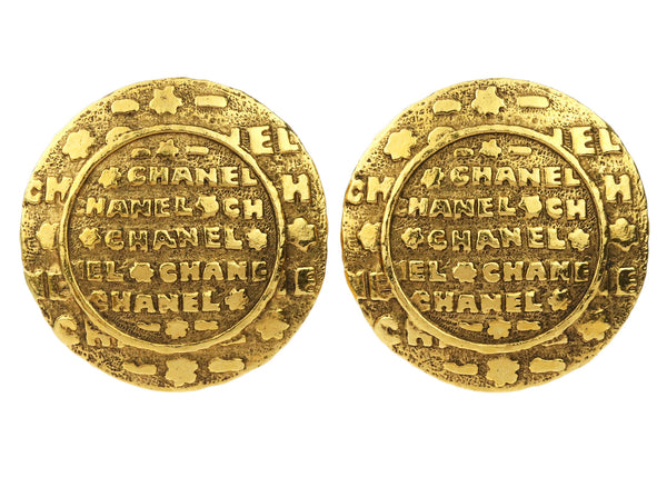 Chanel Vintage Gold Tone Round Clip On Earrings
