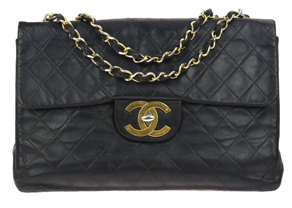 Chanel Vintage XL Maxi Black Lambskin Flap Bag