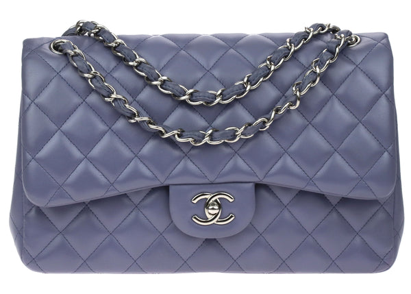 Chanel Violet Lambskin Jumbo Double Flap Bag
