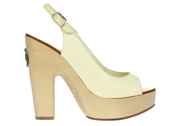 Chanel White Lambskin Peep Toe Wooden Platform Sandals