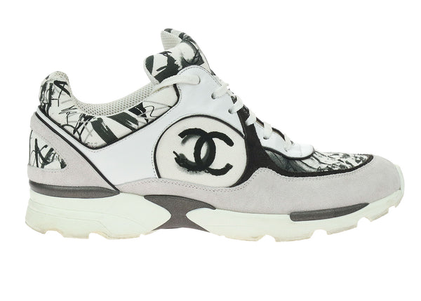 Chanel White & Black Suede CC Logo Sneakers