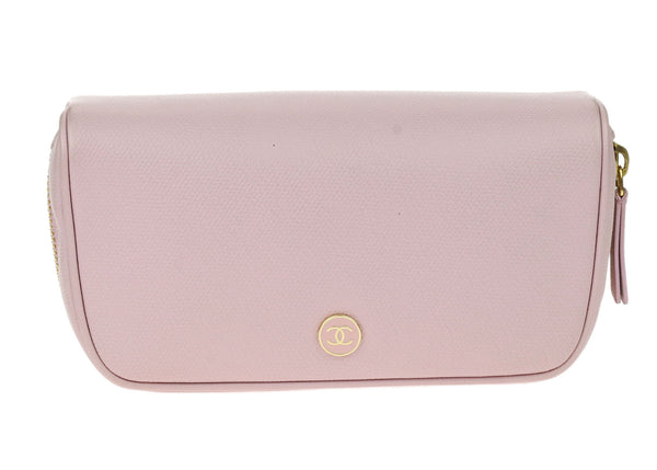 Chanel Vintage Lilac Caviar Coco Button Cosmetic Pouch