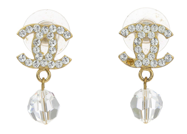 Chanel 07 P Gold CC Logo Boucles Earrings