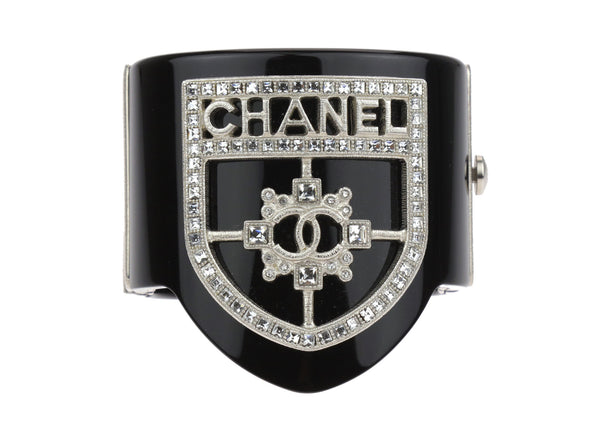 Chanel 15B Black Shield Swarovski Crystals Bracelet