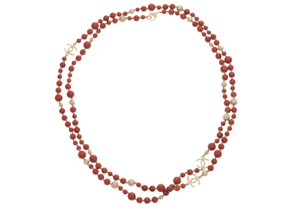 Chanel 16A Red CC Logo Beaded Necklace