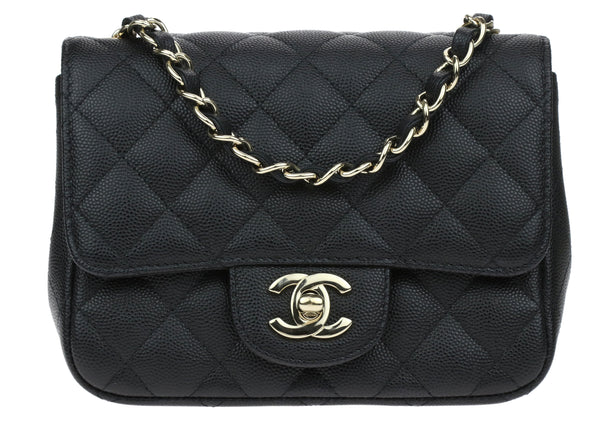 Chanel 17C Black Caviar Mini Square Flap Bag