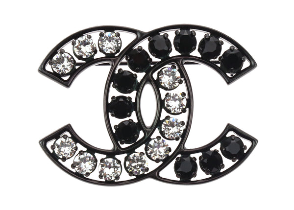 Chanel B14 B CC Crystal Black Brooch