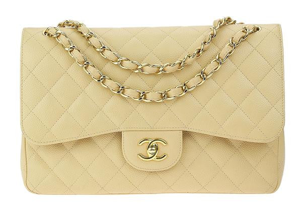 Chanel Beige Caviar Jumbo Double Flap