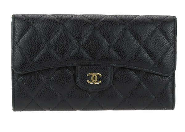 Chanel Black Caviar Leather Long Flap Wallet GHW