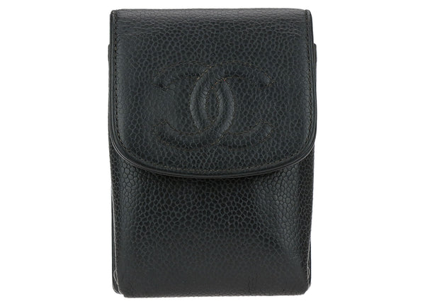 Chanel Black Caviar Leather Cell Phone Case Pouch