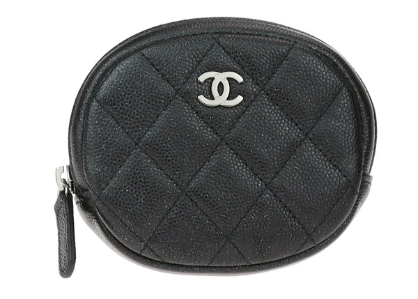 Chanel Black Caviar Round Zippered Coin Purse