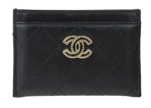 Chanel Black Lambskin CC Holder