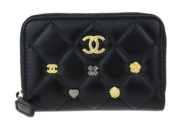 Chanel Black Lambskin Leather Lucky Charms Zip Coin Purse