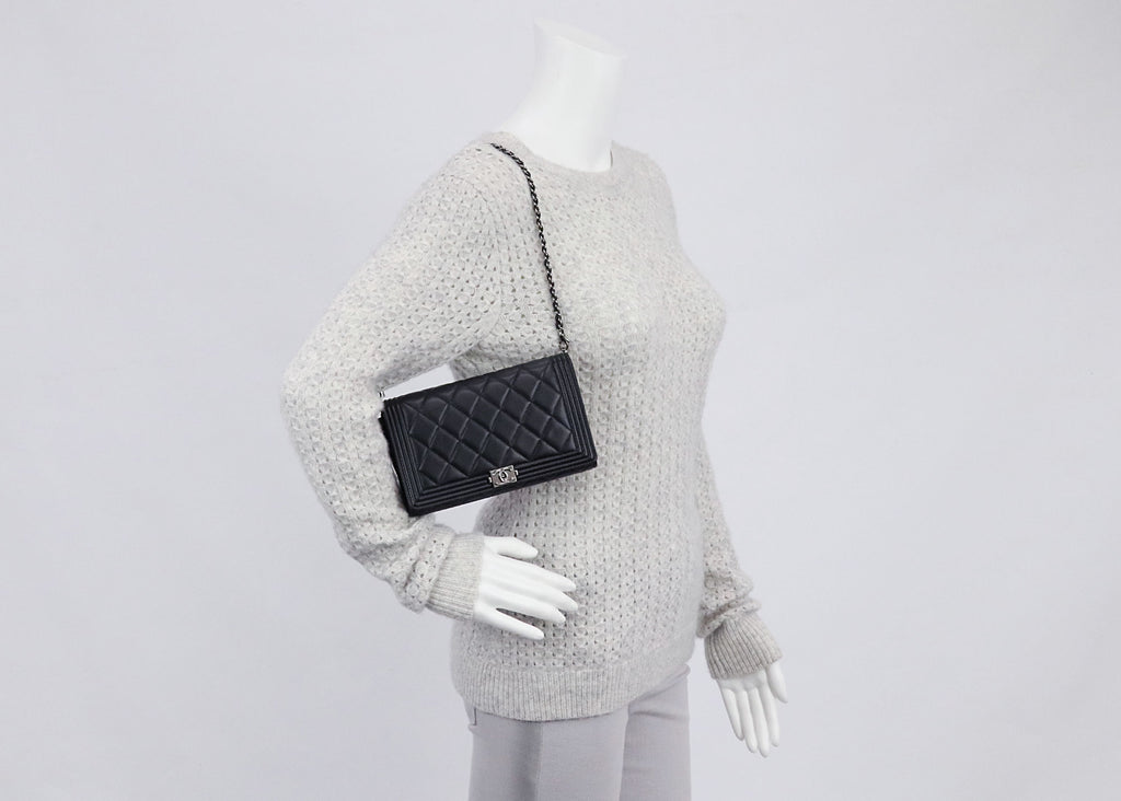 chanel black quilted lambskin leather boy removable woc