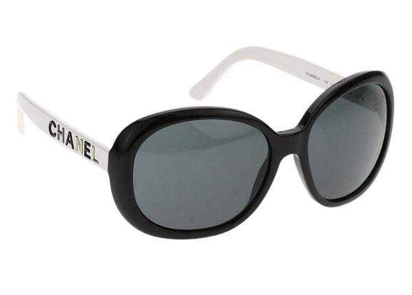 Chanel Black and White 0138 Logo Sunglasses