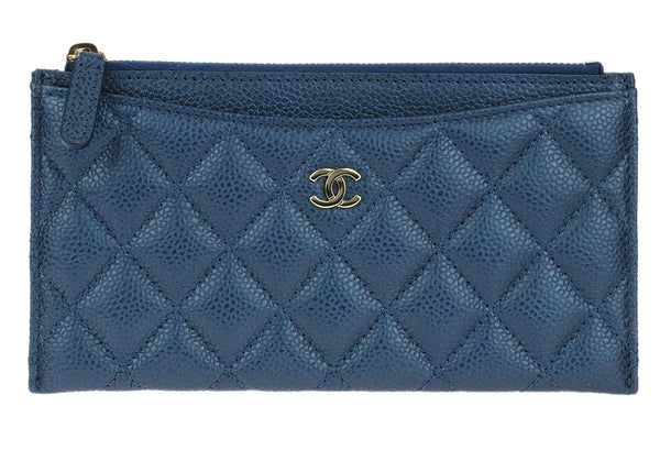 Chanel Blue Caviar Leather Wallet Pouch Case LGHW