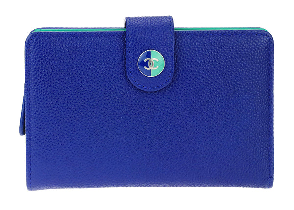Chanel Blue Caviar Sevruga Zippy Compact Wallet