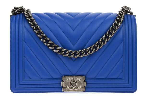 Chanel Blue Lambskin Chevron New Medium Boy Bag