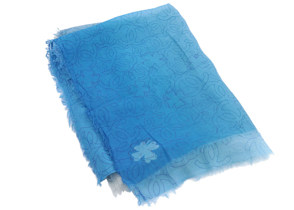 Chanel Blue Ombre Large CC Logo Scarf Shawl