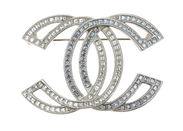 Chanel Large Crystal And Matte Gold Tone CC Cut-Out Brooch