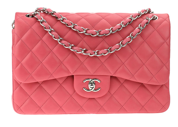 1de549c4be4a Chanel Classic Pink Lambskin Leather Jumbo Double Flap Bag SHW