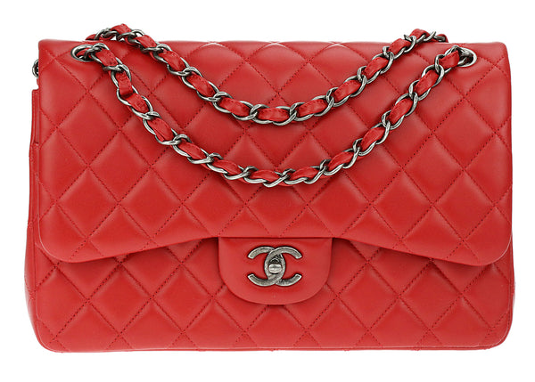 d6c2c2dd7223 Chanel Classic Red Lambskin Jumbo Double Flap Ruthenium Hardware Bag