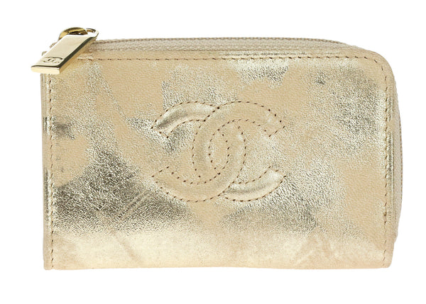 Chanel Distressed Gold Leather Key Holder Case
