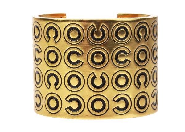 Chanel Gold Wide Coco Cuff Black