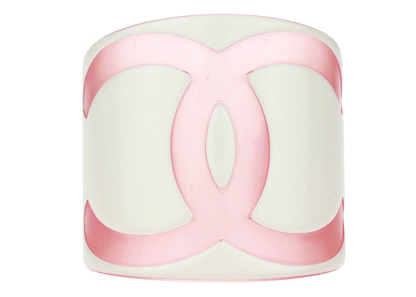 Chanel Pink CC Resin Wide Cuff Bracelet