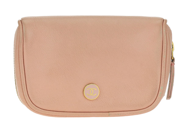 Chanel Pink Caviar Leather Pouch