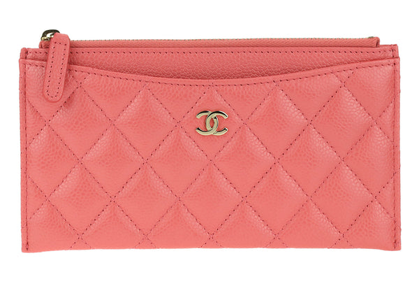 Chanel Pink Caviar Leather Wallet Pouch Case LGHW