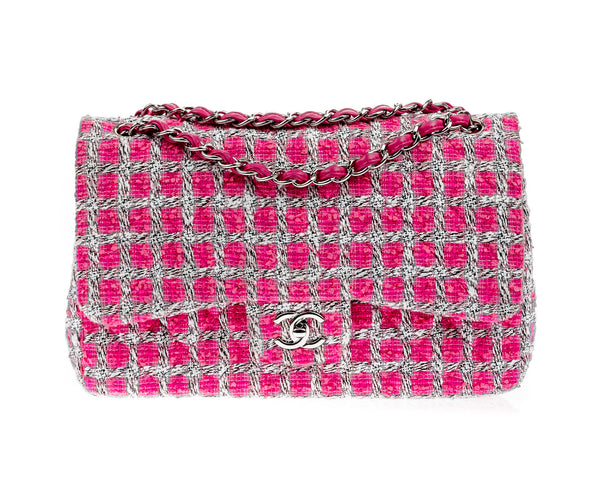 Chanel Pink Tweed Jumbo Double Flap Bag