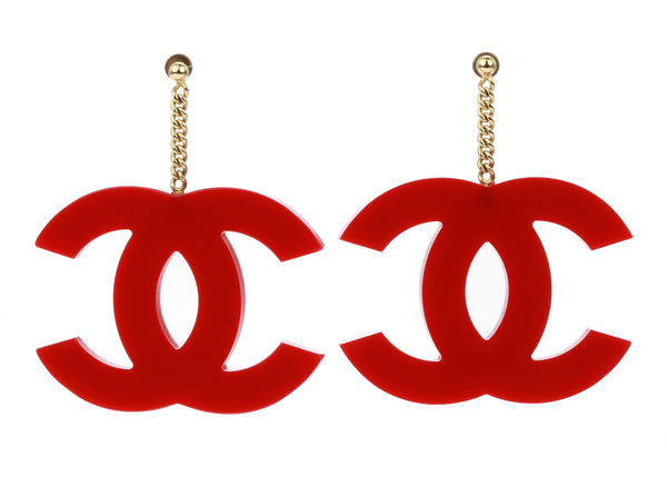 Chanel Red CC Resin Oversized Dangle Earrings