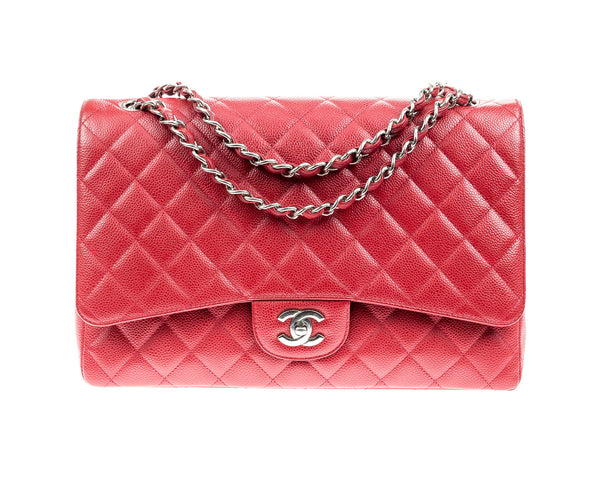 Chanel Red Caviar Leather Maxi Flap Bag