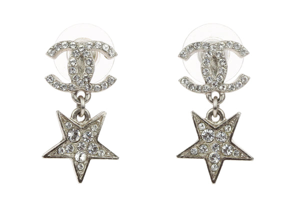 Chanel Silver CC Dangle Star Stud Earrings