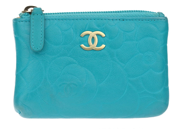 Chanel Turquoise Lambskin Leather Camellia Key Pouch