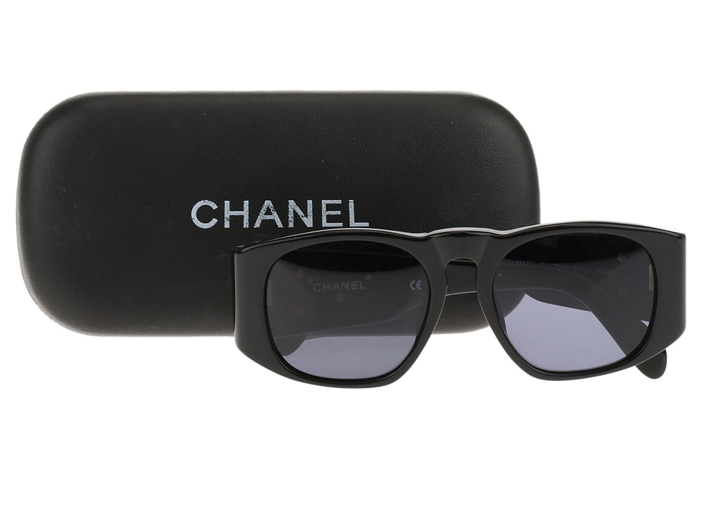 Chanel Black 01450 Quilted Sunglasses Chanel Consignment