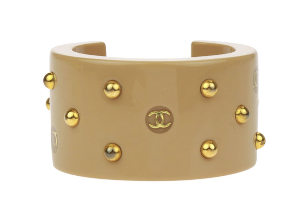 Chanel Vintage CC Tan Resin Studded Cuff Bracelet