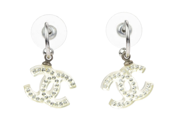 Chanel Vintage Clear Lucite CC Rhinestone Dangle Earrings