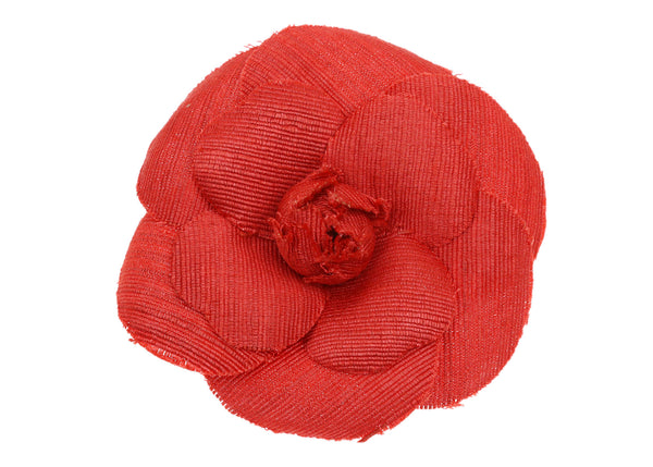 Chanel Vintage Red Fabric Camellia Brooch