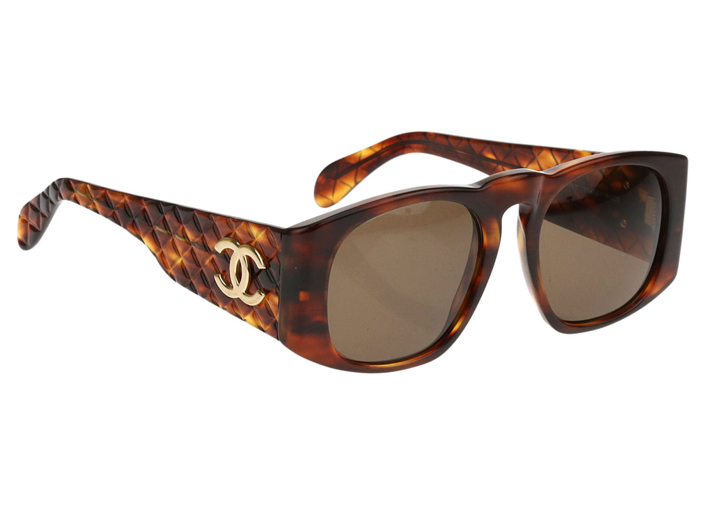 Chanel Vintage Tortoise Shell 01450 Quilted Sunglasses Chanel