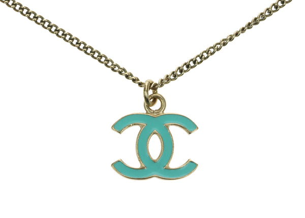 Chanel Gold Chain Teal Enamel CC Pendant Necklace