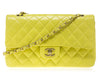 Chanel Vintage Yellow Lambskin Double Flap - Designer Vault - 1