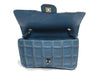 Chanel Vintage Reverse Stitched Blue Leather Flap - Designer Vault - 5