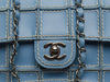 Chanel Vintage Reverse Stitched Blue Leather Flap - Designer Vault - 6