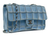 Chanel Vintage Reverse Stitched Blue Leather Flap - Designer Vault - 2