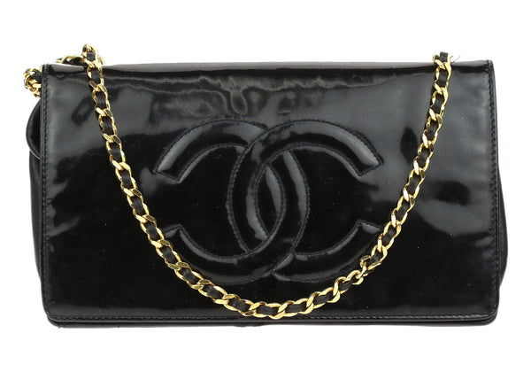 Chanel Black Patent Leather CC Wallet On Chain WOC