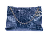 Chanel Navy Blue Crackled Patent Leather Puzzle Tote Bag - Designer Vault - 1